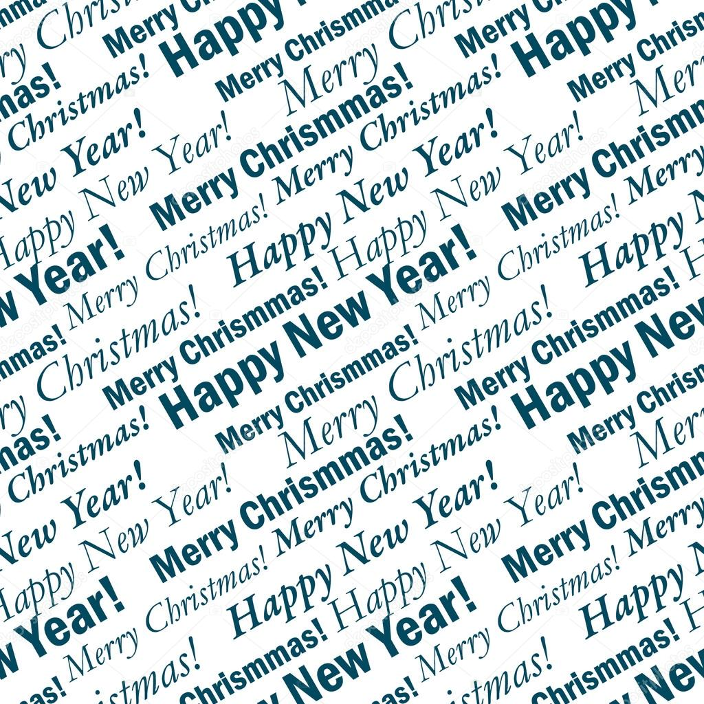 Seamless festive background with phrases Merry Christmas and Happy ...