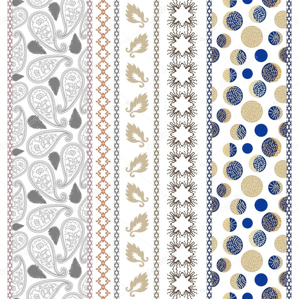 Set of seamless paisley borders with bohemian motifs. Hand drawn paisley pattern, leaves, damask borders, crescent moon drawings.