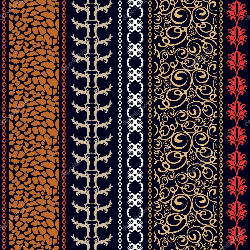 vintage seamless silk wallpaper with boho style elements. Black Bedroom Furniture Sets. Home Design Ideas
