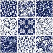 Fotografie Festlegen des viktorianischen Damast nahtlose Muster mit Rosen. Chinesische, indische, französische und italienische Motive
