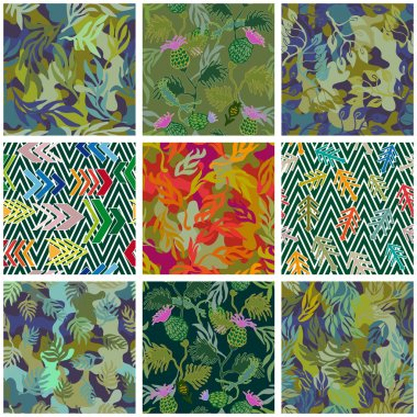 Camouflage set. Collection of seamless vector camouflage patterns. Camo floral, geometric motifs.