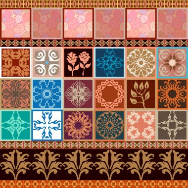 Creative set of glazed ceramic tiles with seamless rose pattern and damask border. Vintage French, Italian, Spanish motifs.