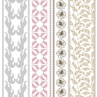 Set of Victorian seamless borders. Retro damask pattern, geometric ornaments, leaves and branches.