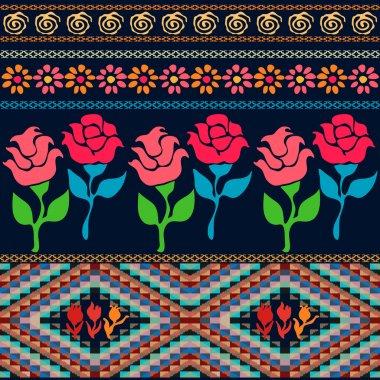 Bag design. Bohemian seamless pattern. Ethnic and Peruvian motifs.