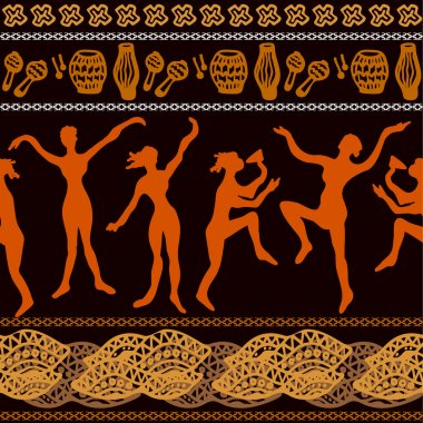 Dancers and musicians. Stylized cave art painting. Set of seamless bohemian borders with aboriginal motifs.