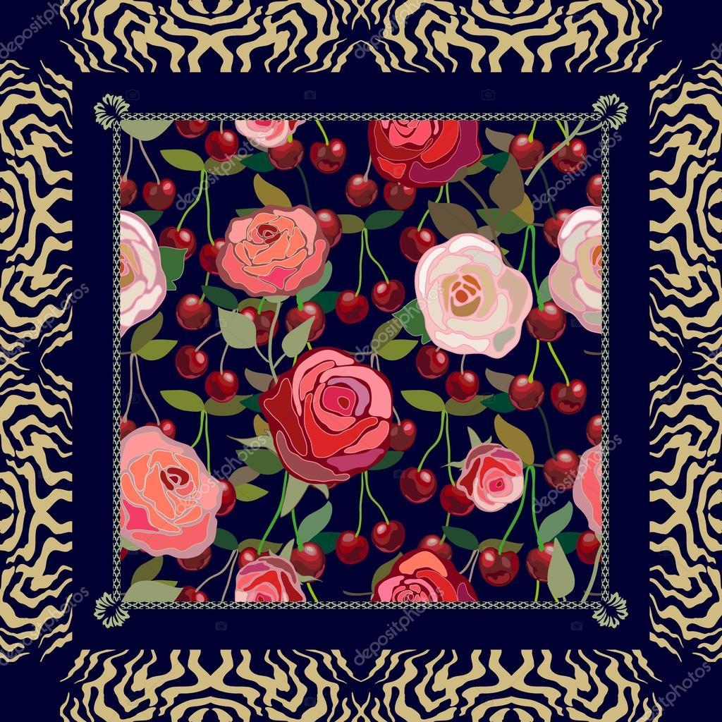 Bufanda vintage creativa con motivos de gitana. Rojo cereza, patrón ...