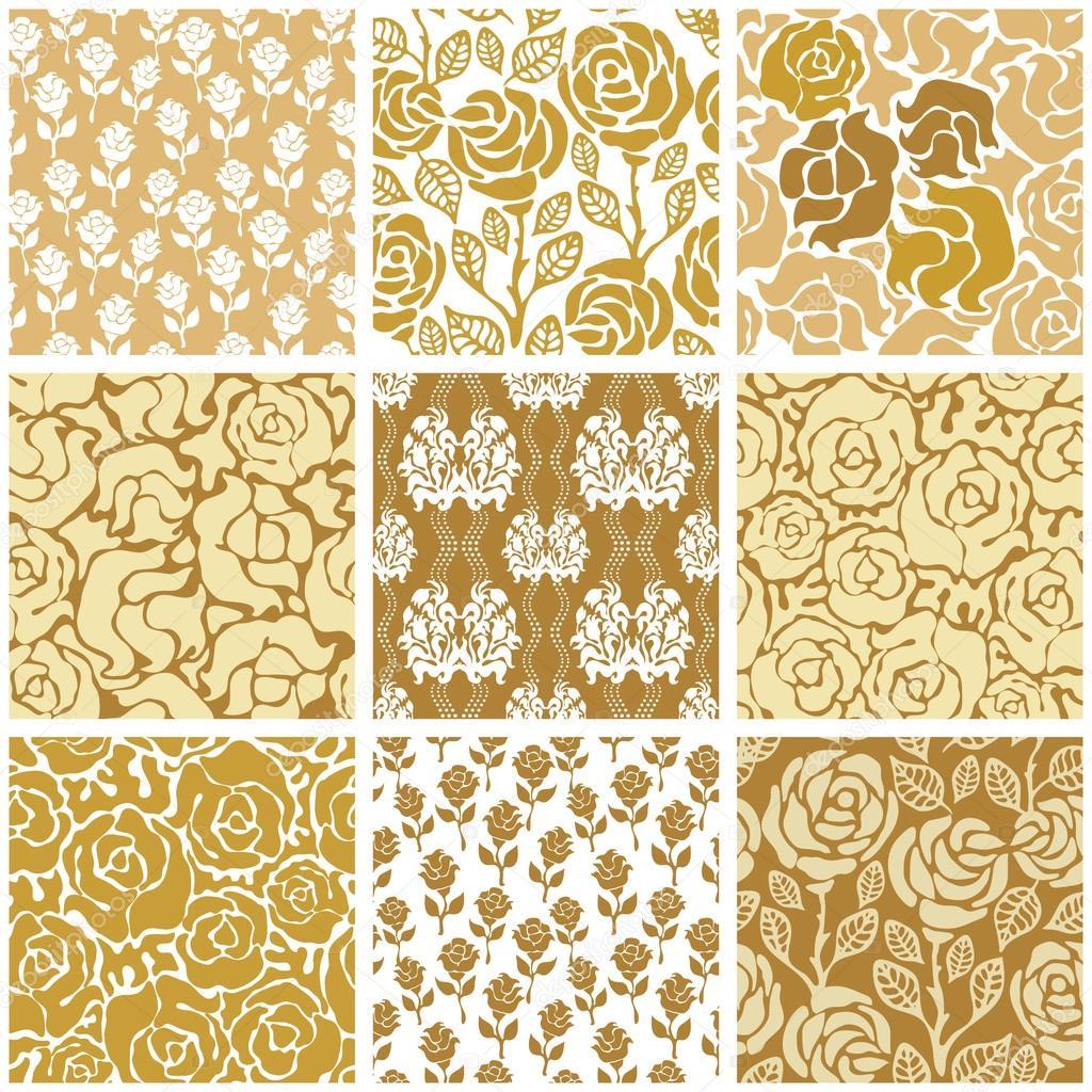 Italian ornaments - Leaves Ornaments Roses Geometrical Prints Oriental Textile Collection Vector By Svetlanakononova