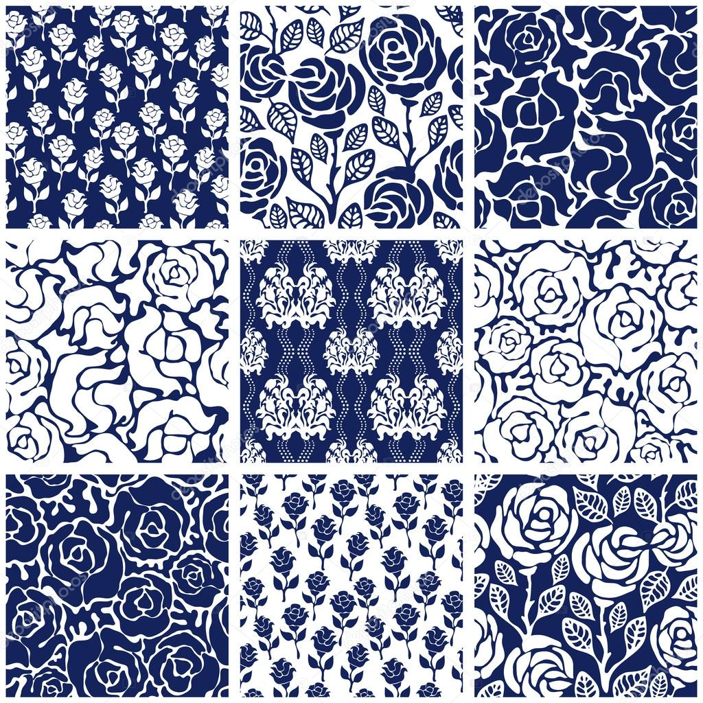 Italian ornaments - Set Of Victorian Damask Seamless Patterns With Roses Chinese Indian French And Italian Leaves Ornaments