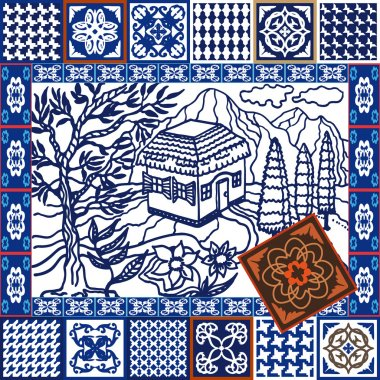 Blue Ceramic Tiles Collage. Mosaic set with hand-drawn Italian landscape and geometrical glazed tiled borders.