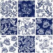Fotografie Porzellan mit orientalischen Motiven. Collage aus Keramikfliesen mit floralen Mustern.