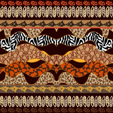 Undiscovered Africa. Seamless Ethnic Border. Animal Textures.