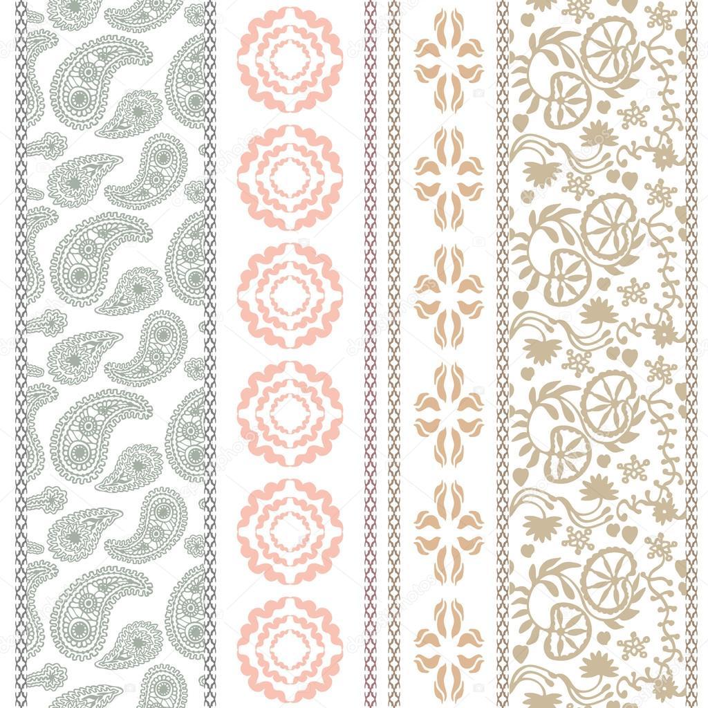 Conjunto de Art Deco. Fronteras de bordado de flores. Motivos ...