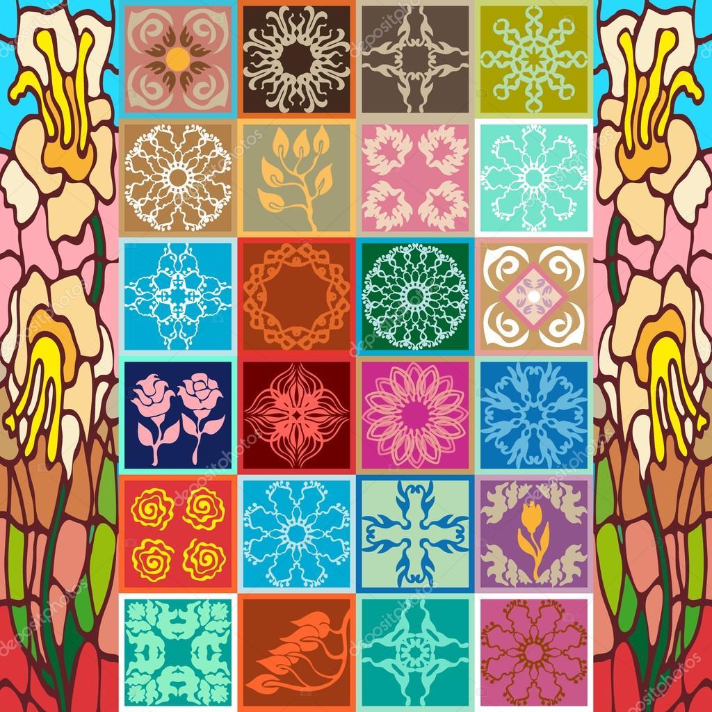 Set of art nouveau ceramic tiles stock vector svetlanakononova set of art nouveau ceramic tiles stock vector dailygadgetfo Choice Image