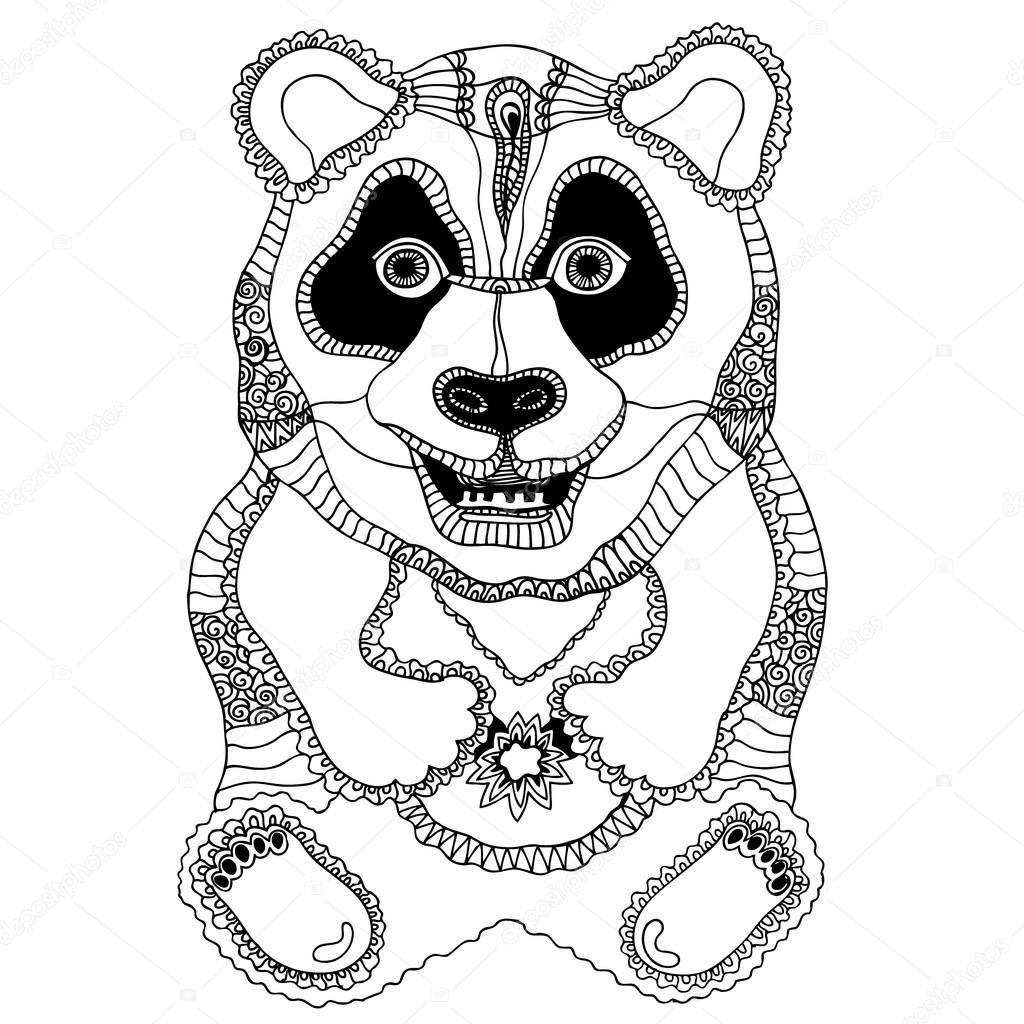 Petit panda coloriage anti stress pour adultes et enfants image vectorielle svetlanakononova - Coloriage petit panda ...