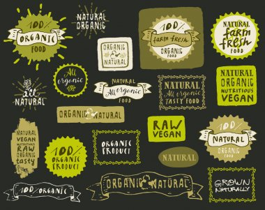 Set of organic food labels