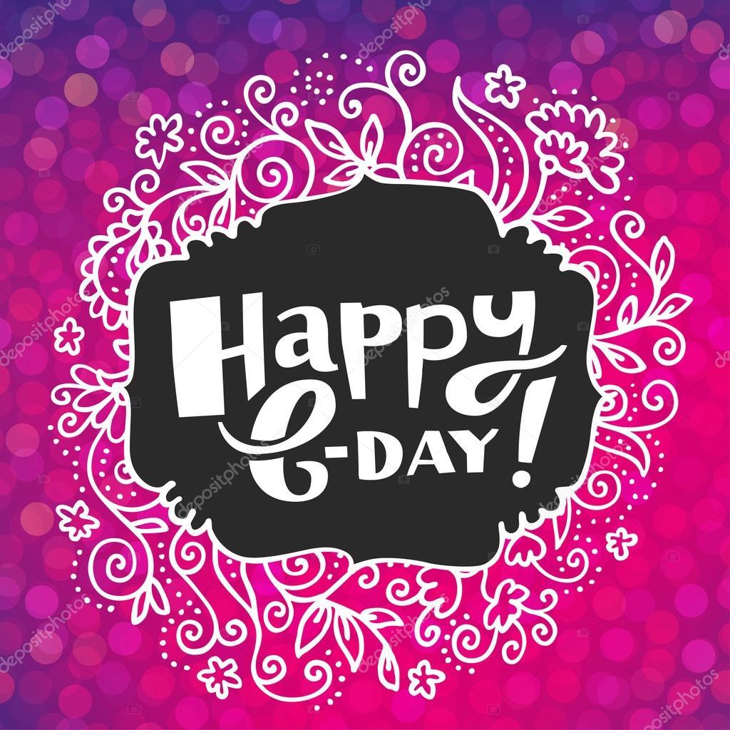 Vektor Handgezeichnete Happy Birthday Card Mit Konfetti Auf Rosa Partei Hintergrund Isoliert Hand Schriftzug Kunstlerische Funkelnden Handkarte
