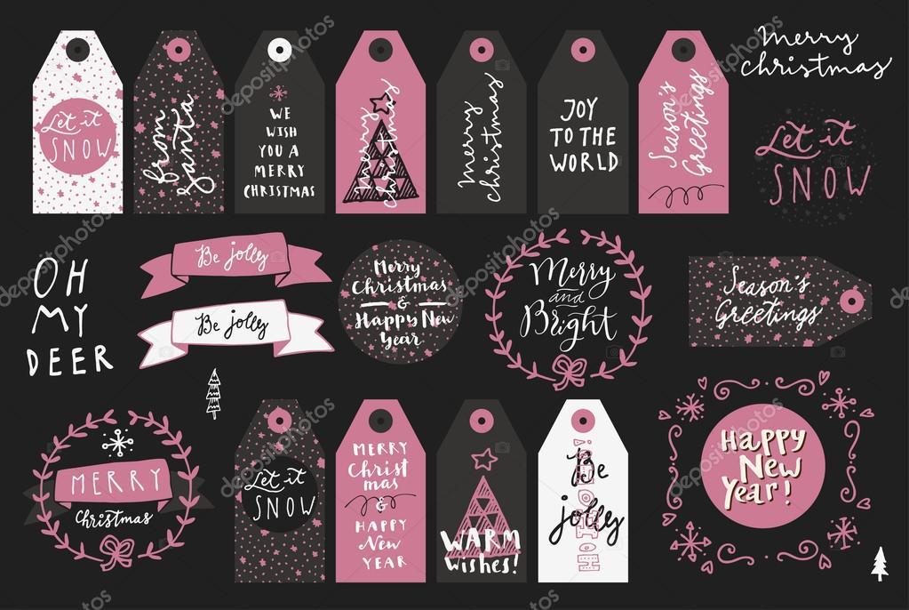 Satz von Frohe Weihnachten Grußkarten — Stockvektor © babayuka ...