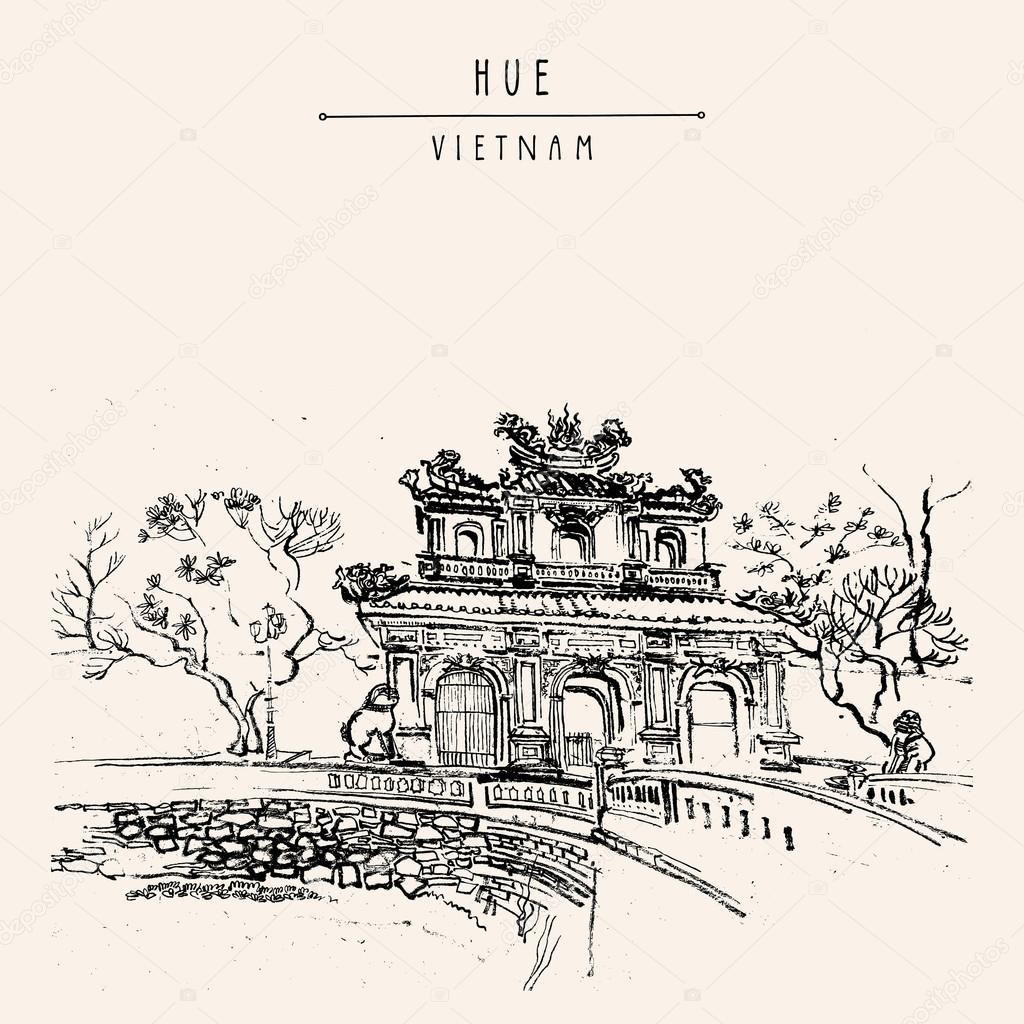 Hue  Vietnam  Imperial Citadel Gate  U2014 Stock Vector