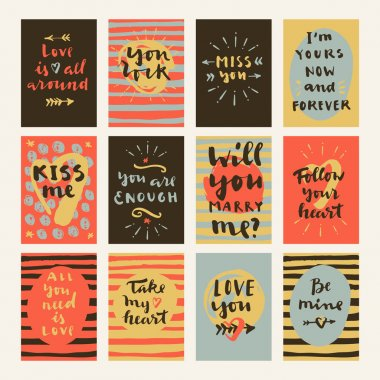 Vector hand drawn calligraphic Valentine's Day cards with hearts and arrows. Love is all around, Love is all you need, Be mine, You are enough, Will you marry me, Take my heart, You rock, Kiss me. stock vector