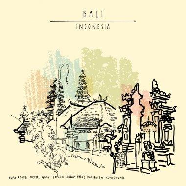 hand drawn Bali postcard