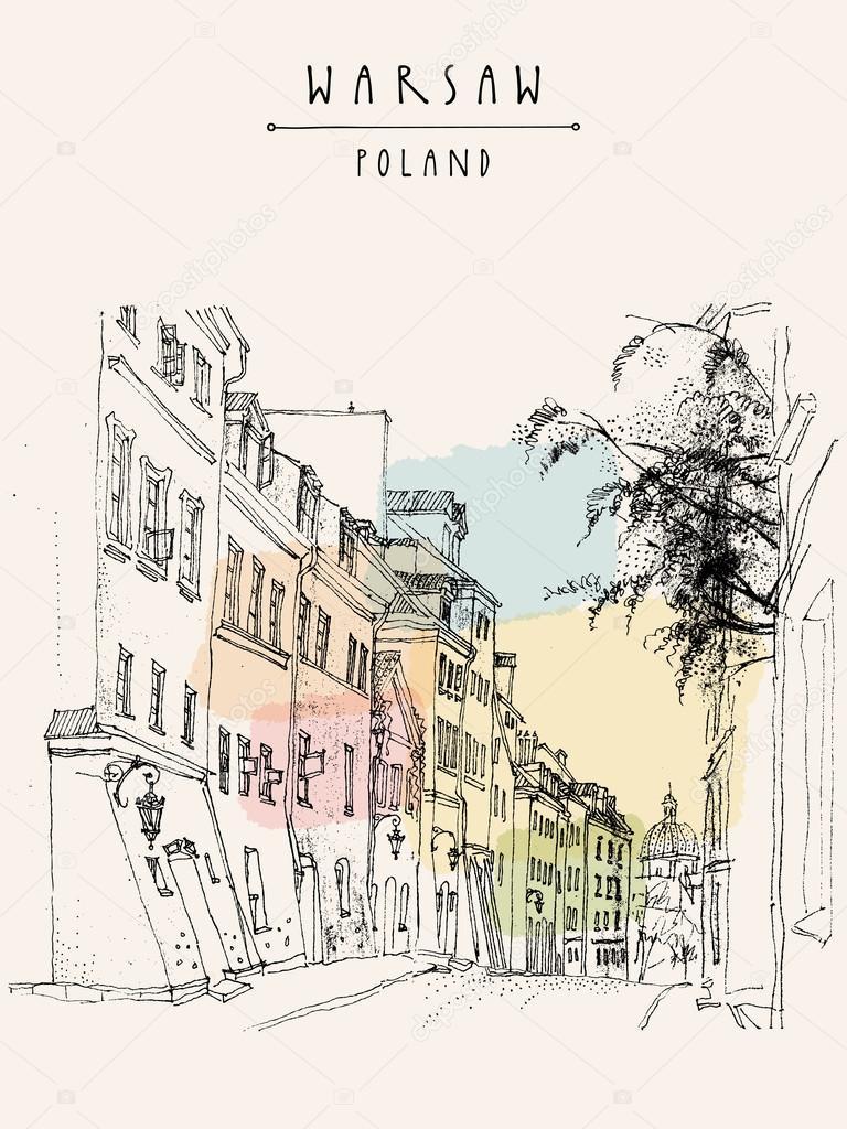 Alte Postkarte in Zentrum von Warschau — Stockvektor © babayuka ...