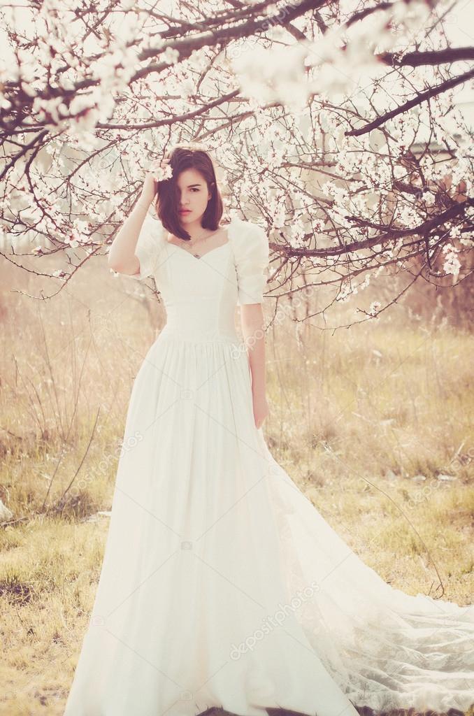 weißes Kleid, Vintage, Vintage-Stücken, Trail, Spitze, langes Kleid ...