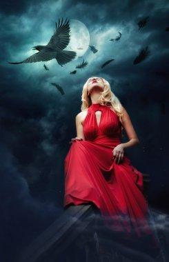 Black raven, eclipse, girl stock vector