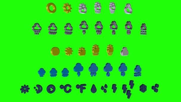 Počasí symboly - zelená obrazovka 02