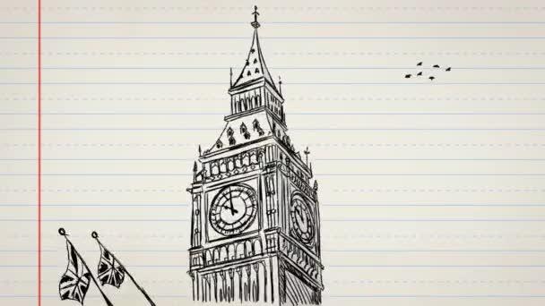 Big Ben - London - kézzel rajzolt 02