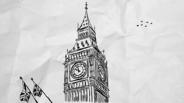 Big Ben - London - kézzel rajzolt 01