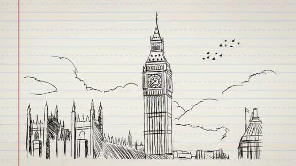 Londýn - ručně tažené - papír 02