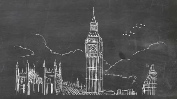 Londýn - ručně tažené - tabule 01