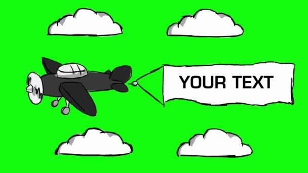 Plane - Hand Drawn - Green Screen 03