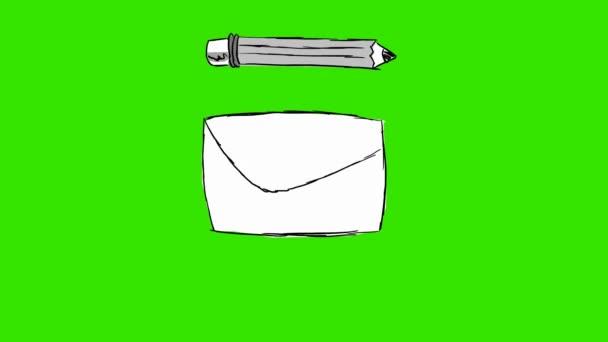 e-mail-pastelka - ručně tažené - Green Screen