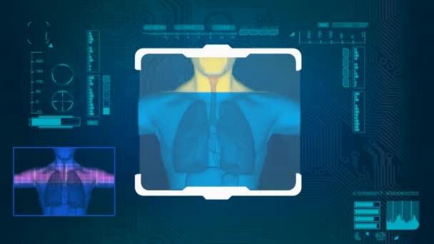 Plíce naskenované - digitální rozhraní - modrá