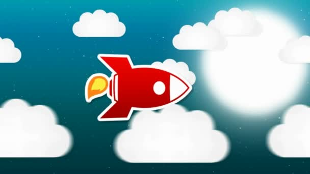 Rocket Animation - Night Time - Clouds
