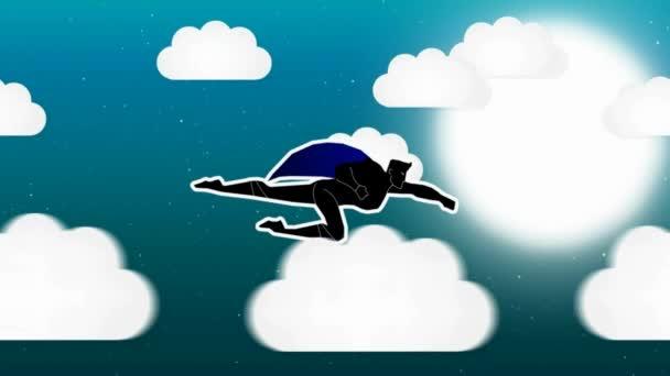 Supereroe animazione - tempo di notte - nuvole