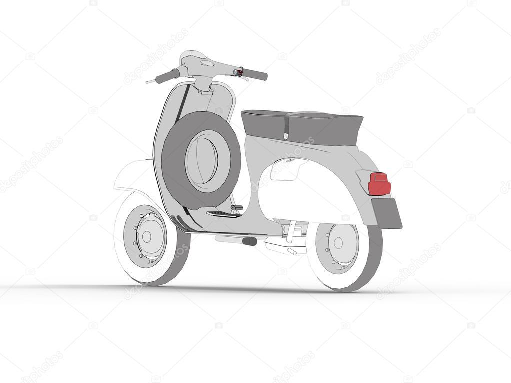 Drawing Motor Scooter Symbol — Stock Photo © Gugurat #108368462
