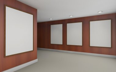 Art Gallery perspective two  point and Picture Frame wall wood