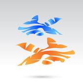 Kék és narancs absztrakt hal