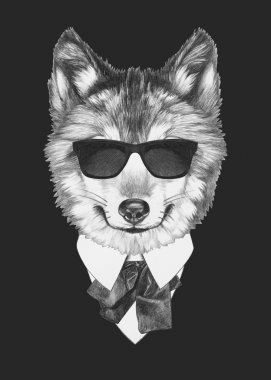 Portrait of Wolf in suit.