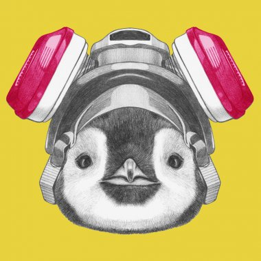 Portrait of Penguin with gas mask.