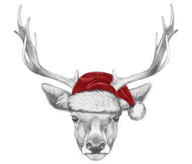 Portrait of Deer with Santa Hat.