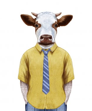 Portrait of Cow in summer shirt with tie.