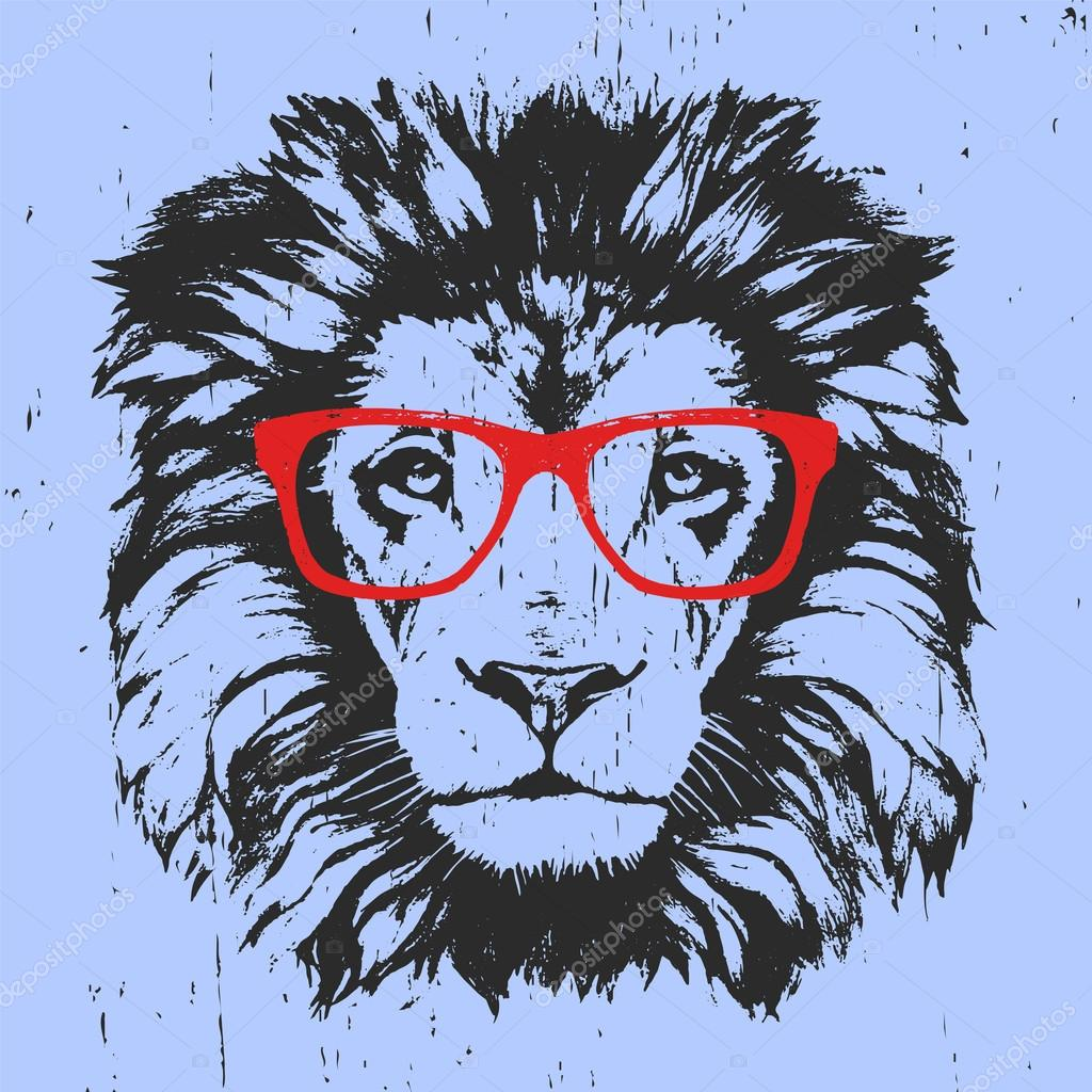imprimer dessin de lion avec des lunettes image vectorielle 121934280. Black Bedroom Furniture Sets. Home Design Ideas