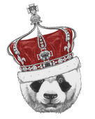 Original drawing of Panda with crown