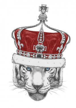 Original drawing of Tiger with crown