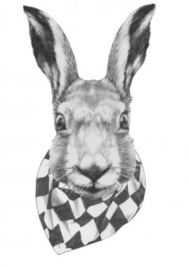 Original drawing of Rabbit with scarf