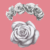 Photo rose and floral wreath