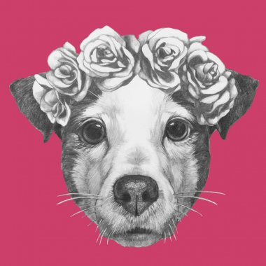 Jack Russell with floral wreath
